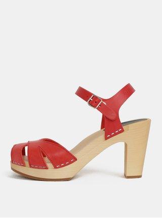 Dřeváky na podpatku s červenými koženými pásky Swedish Hasbeens Suzanne