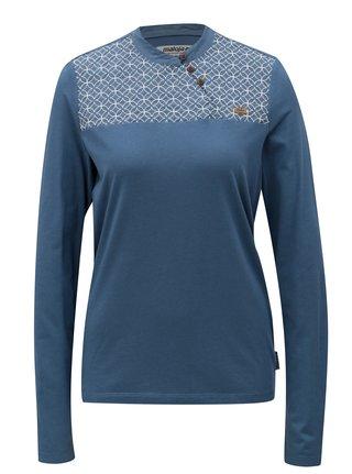 Tricou albastru cu model si broderie Maloja