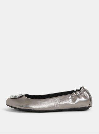 Kožené baleríny ve stříbrné barvě Tommy Hilfiger