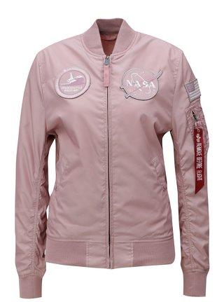 Jacheta de dama bomber roz prafuit reversibila cu model ALPHA INDUSTRIES