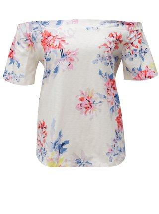 Tricou oversized crem cu imprimeu floral si decolteu pe umeri - Tom Joule Yoona