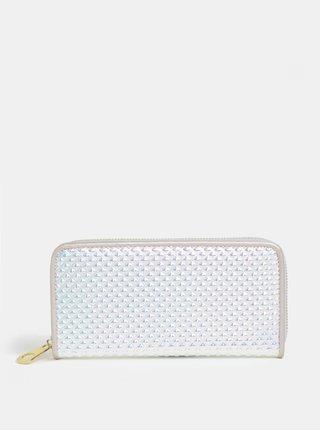 Veľká lesklá peňaženka v striebornej farbe s plastickým vzorom Anna Smith