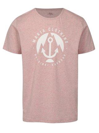Tricou roz deschis melanj cu print - Makia Harbour