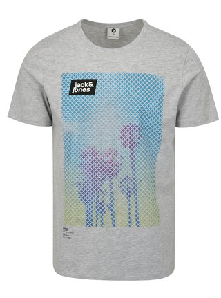 Sivé tričko s potlačou Jack & Jones Burg