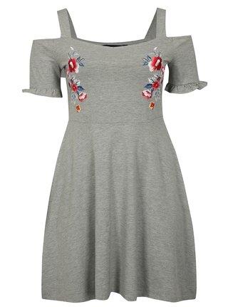 Šedé žíhané šaty s odhalenými rameny Dorothy Perkins