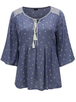 Bluza albastra cu model si maneci 3/4 M&Co