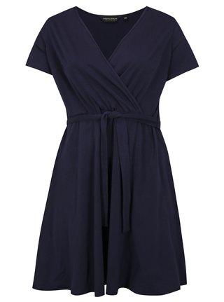 Tmavomodré šaty s prekladaným výstrihom Dorothy Perkins Curve