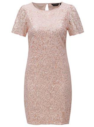 Svetloružové čipkované šaty s flitrami Dorothy Pekrins