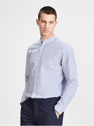 Camasa slim fit albastru deschis melanj din amestec de in Jack & Jones Premium Summer