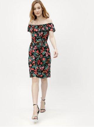 Rochie neagra cu model floral, volan si decolteu pe umeri M&Co