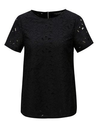 Čierne čipkované tričko s krátkym rukávom Dorothy Perkins