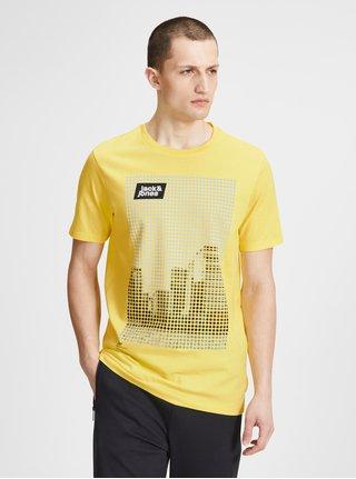 Žluté tričko s potiskem Jack & Jones Burg
