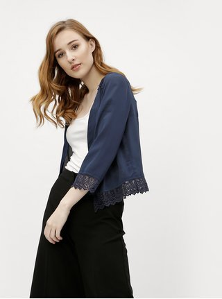 Tmavomodré dámske krátke sako s čipkou M&Co