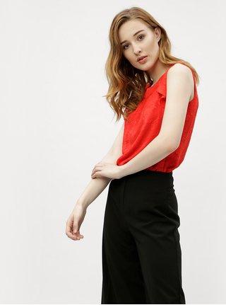 Bluza rosie cu model floral si volane M&Co