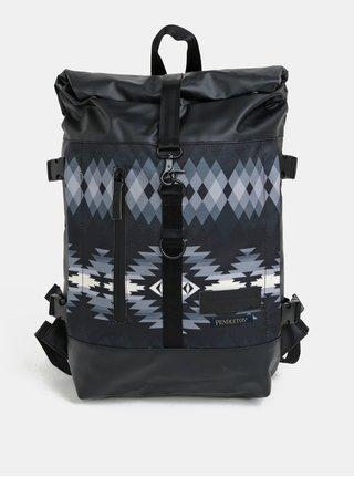 Černý voděodolný vzorovaný batoh Enter Hiker Roll Top 16 l