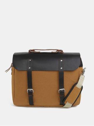 Horčicový batoh/taška s koženými detailmi Enter Brief 12 l