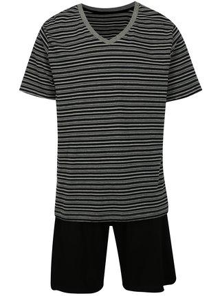 Pijama barbateasca gri-negru in dungi M&Co