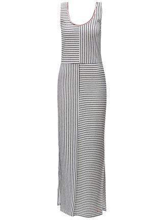 Rochie maxi negru-alb in dungi SKFK