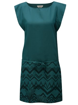 Rochie verde inchis cu print SKFK Tilde