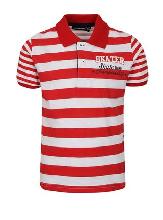 bílo-červené klučičí pruhované polo tričko Mix´n Match