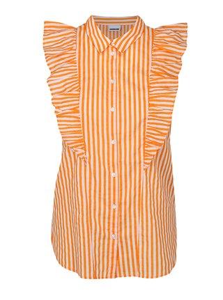 Oranžovo-biela pruhovaná košeľa s volánikmi Noisy May Jack