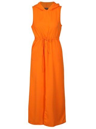 Oranžové maxišaty s kapucňou Noisy May Josephine