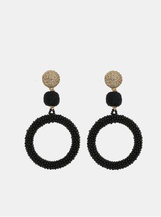Čierne korálkové náušnice Pieces Marcia
