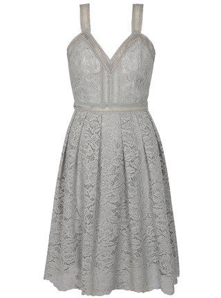 Šedé krajkové šaty Chi Chi London Leonine