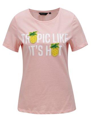 Tricou roz deschis cu aplicatie Dorothy Perkins