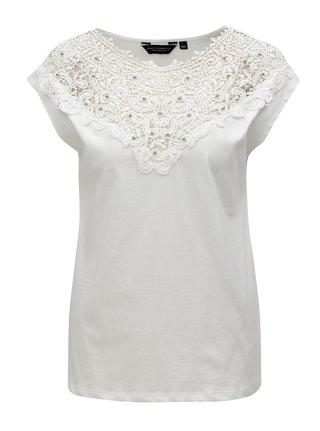 Krémové tričko s krajkou a korálky Dorothy Perkins