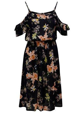 d9fff9e0f695 Tmavomodré kvetované šaty s odhalenými ramenami Dorothy Perkins
