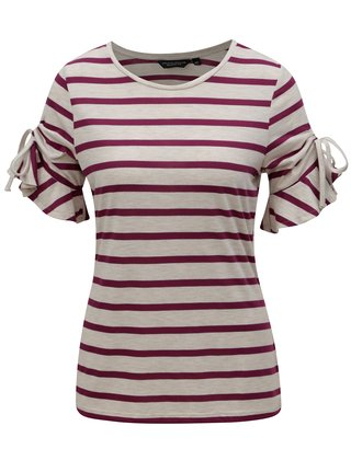 Tricou crem-mov in dungi Dorothy Perkins