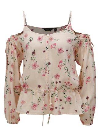 Bluza roz deschis cu model floral si decupaje pe umeri Dorothy Perkins