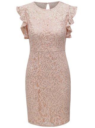 Světle růžové krajkové šaty s flitry Dorothy Perkins Petite