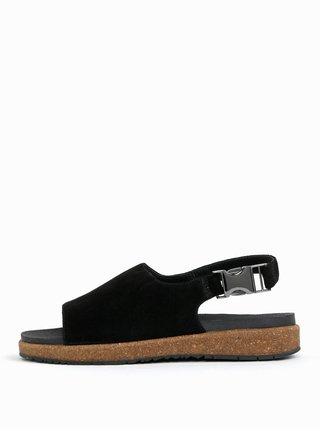 Sandale negru din piele intoarsa pentru femei - Woden Stella