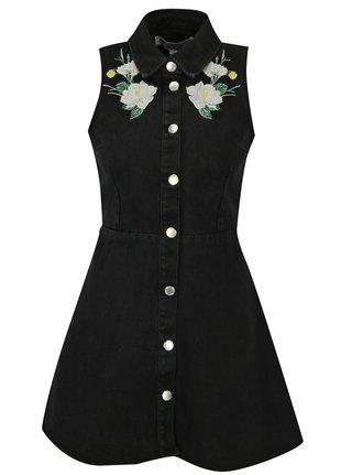 Černé džínové šaty s květovanou výšivkou Miss Selfridge