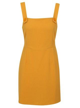 Horčicové šaty na ramienka Miss Selfridge