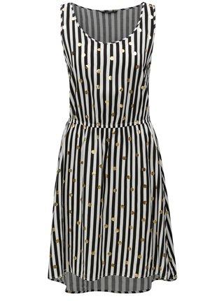Černo-bílé pruhované šaty s potiskem ONLY Nova