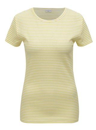 Bílo-žluté pruhované basic tričko Jacqueline de Yong Christine