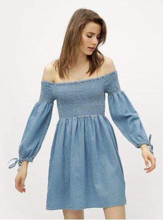Svetlomodré rifľové šaty s odhalenými ramenami Miss Selfridge