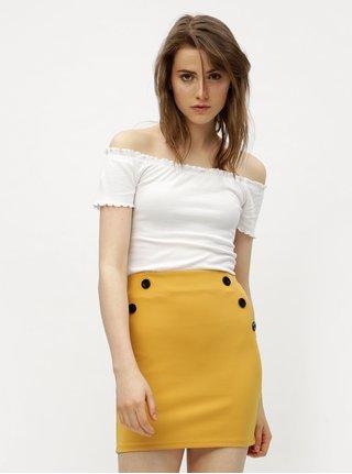Horčicová pouzdrová sukně s knoflíky Miss Selfridge