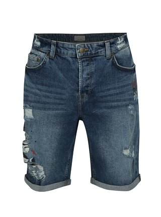 Modré džínové kraťasy s potiskem a potrhaným efektem ONLY & SONS Paint