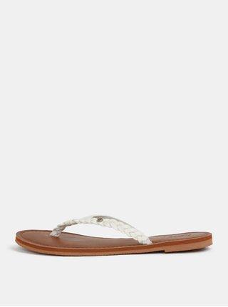 Papuci de dama flip-flop albi cu barete impletite Roxy Livia