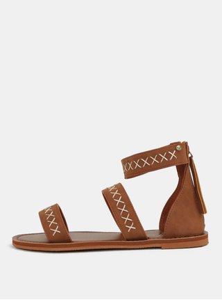 Sandale de dama maro cu cusaturi decorative Roxy Natalie