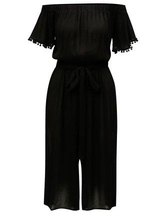 Čierny skrátený overal s odhalenými ramenami Dorothy Perkins