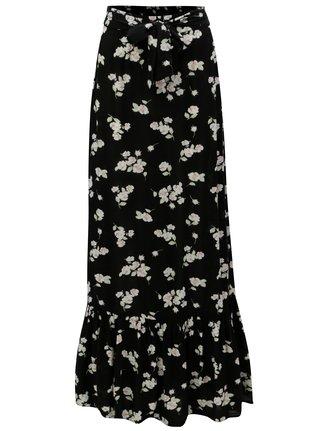 Černá květovaná maxi sukně Dorothy Perkins Tall