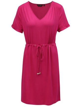 Tmavoružové šaty so sťahovaním v páse Dorothy Perkins