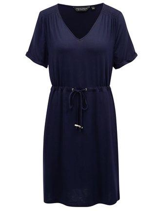 Tmavě modré šaty se stahováním v pase Dorothy Perkins