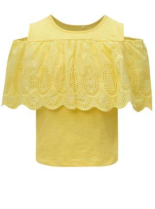Žluté holčičí tričko s průstřihem na ramenou name it Karmali