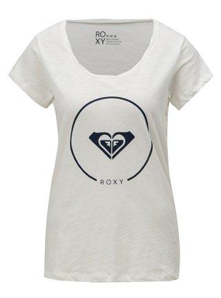 Biele dámske tričko s potlačou Roxy Bobby